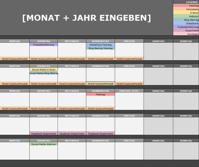 Monatlicher Social-Media-Kalender