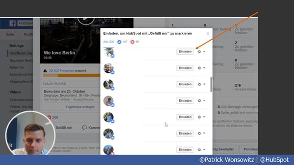 Nutzer einladen, die mit Facebook-Beiträgen interagiert haben
