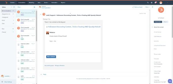 HubSpot-Benutzeroberfläche