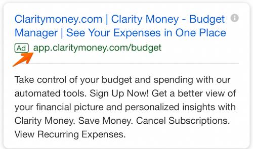 Beispiel einer App-Erweiterung in einer Google-Anzeige