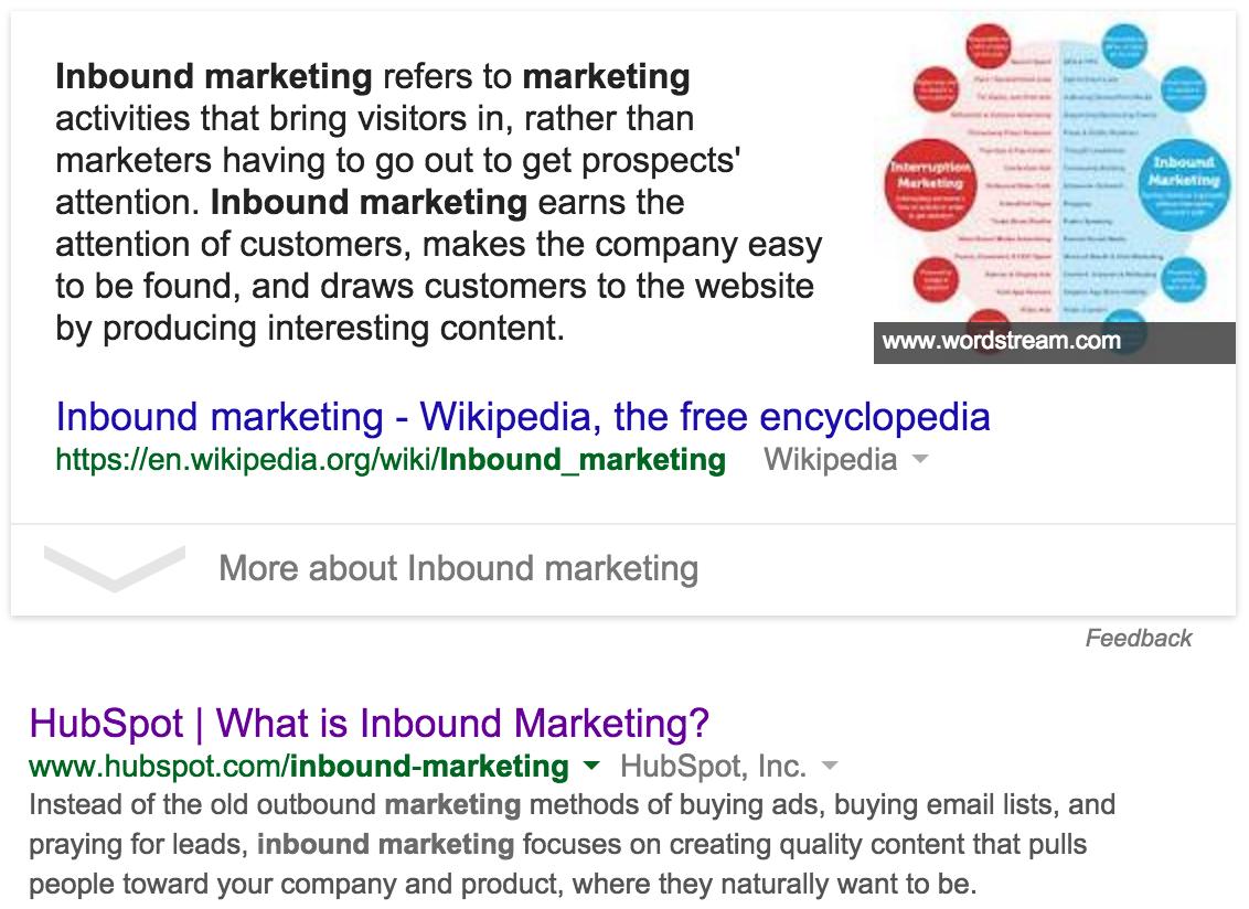 Inbound-Marketing – Hervorgehobenes Snippet