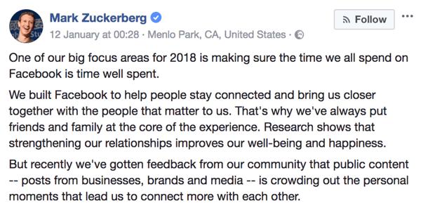 Mark Zuckerberg – Facebook-Ankündigung