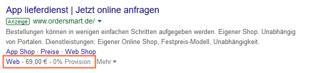 angebotserweiterung in google ads zeigt den preis an