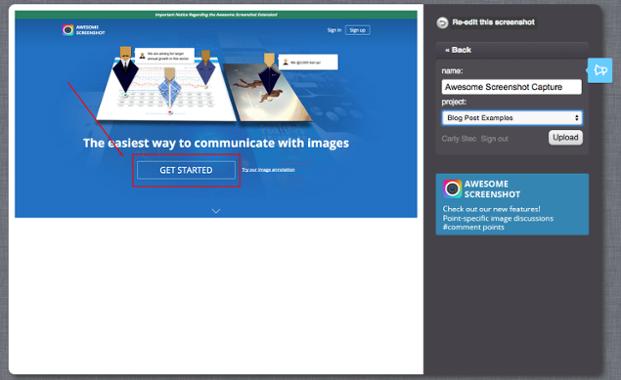 Awesome Screenshot - Screenshot in ein Projekt hochladen