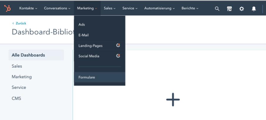 Screenshot des HubSpot Dashboards: Menü Formulare um Popup zu erstellen