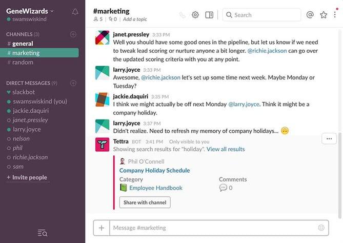 HubSpot - Produktivitäts-Bots für Marketer - Tettra-Bot in Slack
