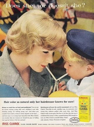 Clairol Werbekampagne – hat sie die Haare gefärbt?