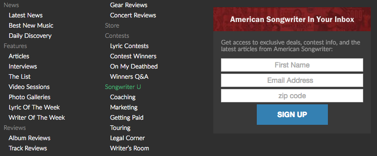 HubSpot – Anatomie einer Website, die Leads generiert – Footer American Songwriters