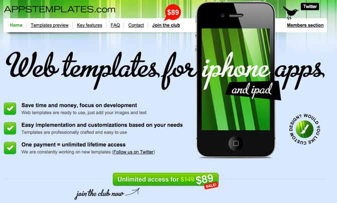 CTA auf der Homepage von apptemplates.com