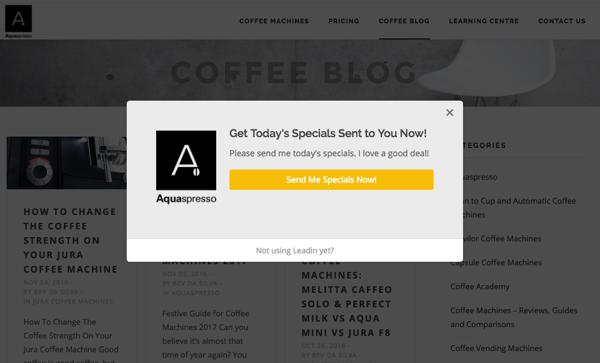 HubSpot – Anatomie einer Website, die Leads generiert – Aquaspresso Blog-Popup