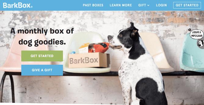 CTAs auf der Website von Barkbox