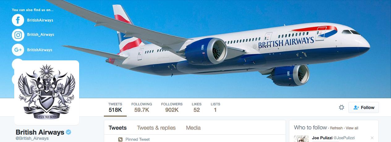 Beispiel eines gelungenen Twitter-Titelbilds - British Airways