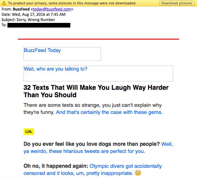 Beispiele herausragender E-Mail-Marketing-Kampagnen – BuzzFeed ohne Bilder