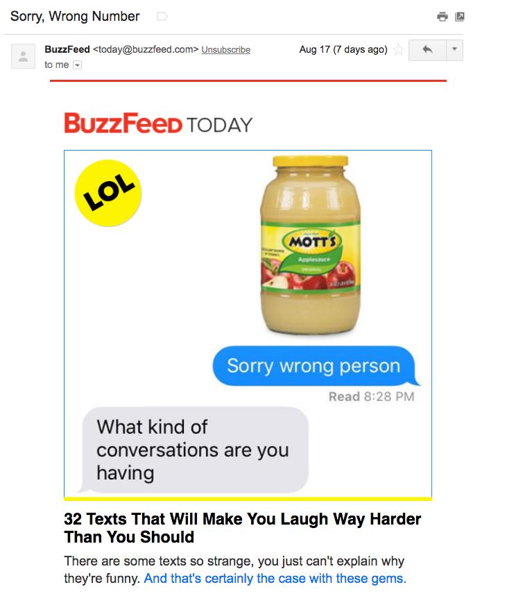 Beispiele herausragender E-Mail-Marketing-Kampagnen – BuzzFeed mit Bildern