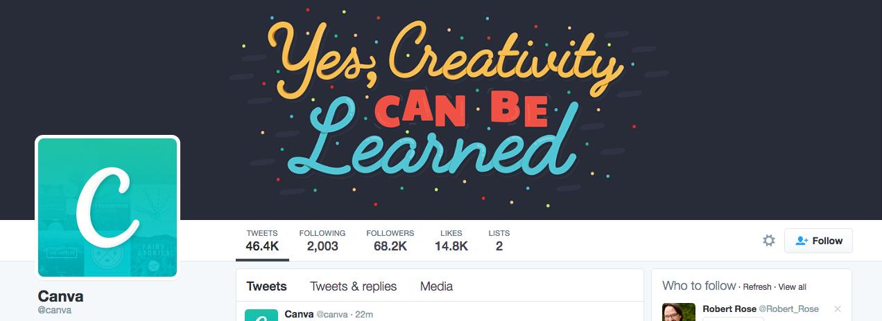 Beispiel eines gelungenen Twitter-Titelbilds - Canva