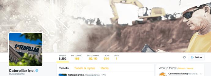 Beispiel eines gelungenen Twitter-Titelbilds - Caterpillar Inc.