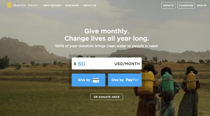 CTAs auf der Website von Charity:Water
