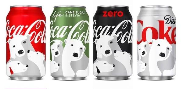 Coca-Cola Logo-Design mit Platzierung auf vier verschiedenfarbigen Dosen