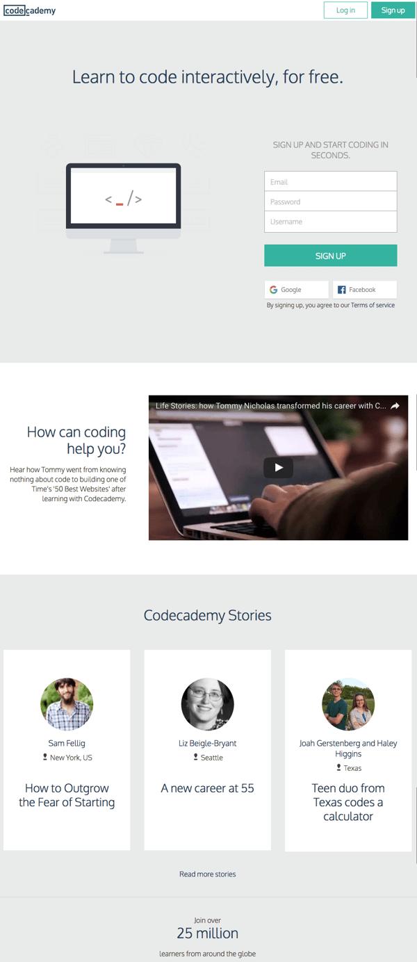 HubSpot – Anatomie einer Website, die Leads generiert – Homepage Codeacademy