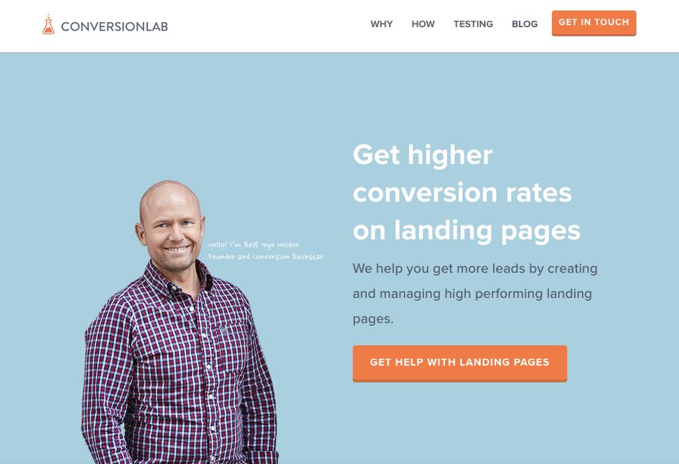 Beispiele für ansprechendes Landing-Page-Design – Conversion Lab 01
