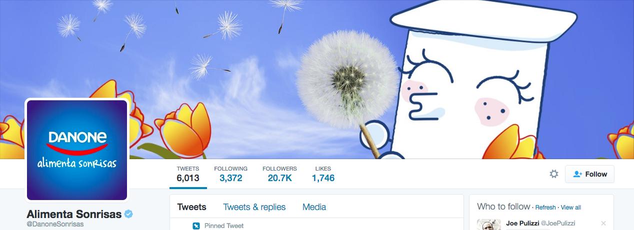 Beispiel eines gelungenen Twitter-Titelbilds - Danone