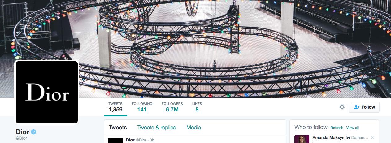 Beispiel eines gelungenen Twitter-Titelbilds - Dior