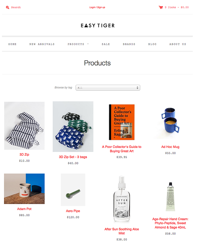 Beispiel eines Online-Shop – Easy Tiger