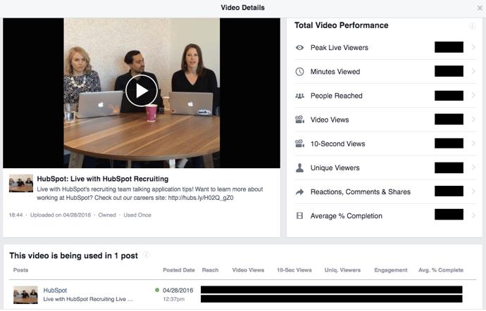 Performance-Statistiken für Facebook Live-Videos