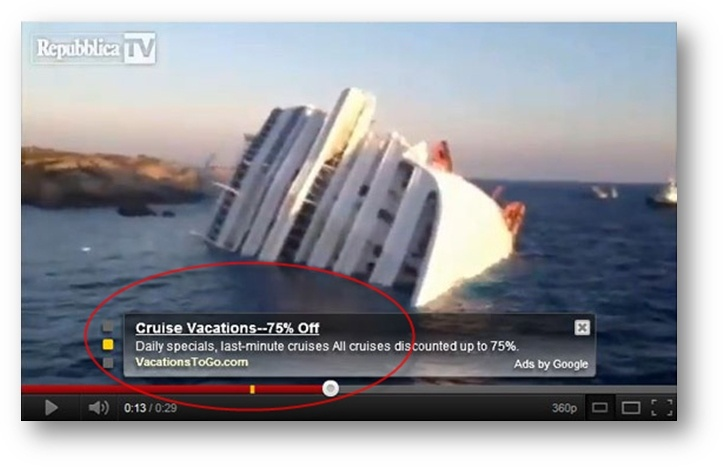 Beispiele für ungünstig platzierte Anzeigen – VacationsToGo