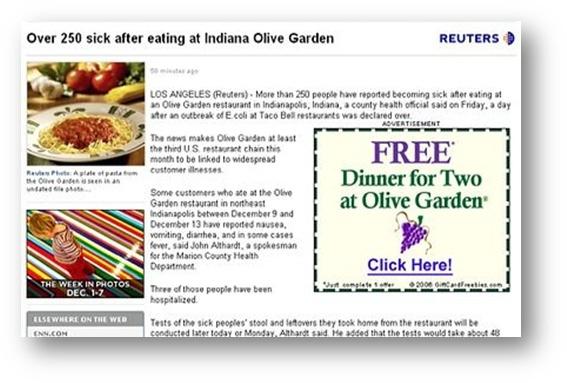Beispiele für ungünstig platzierte Anzeigen – Olive Garden