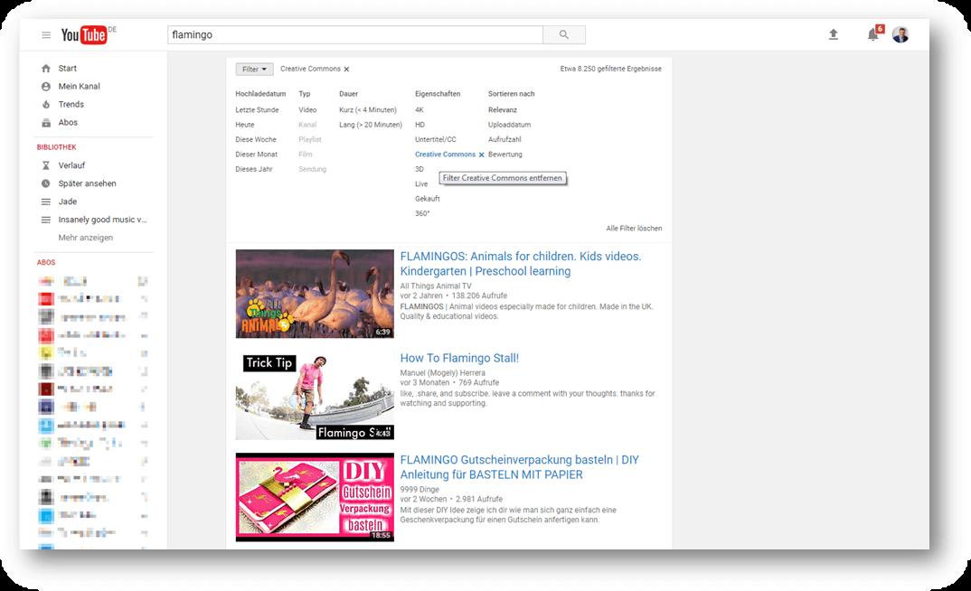 Creative-Commons-Suchergebnisse bei YouTube