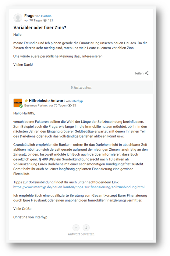 gutefrage.net Beispiel – Interhyp