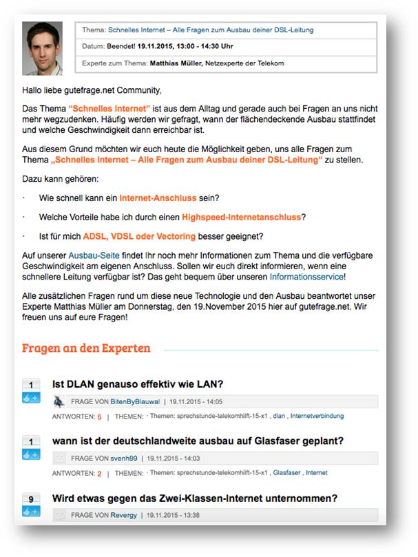 gutefrage.net Beispiel – Matthias Müller, Telekom