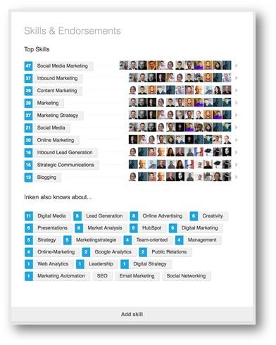 LinkedIn Fähigkeiten angeben