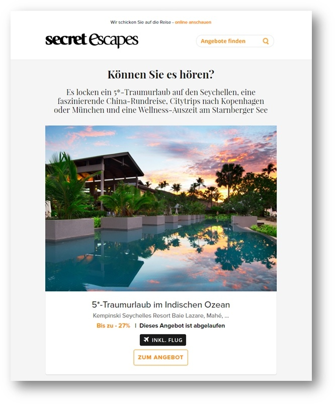 Lead-Nurturing-Beispiele – Secret Escapes
