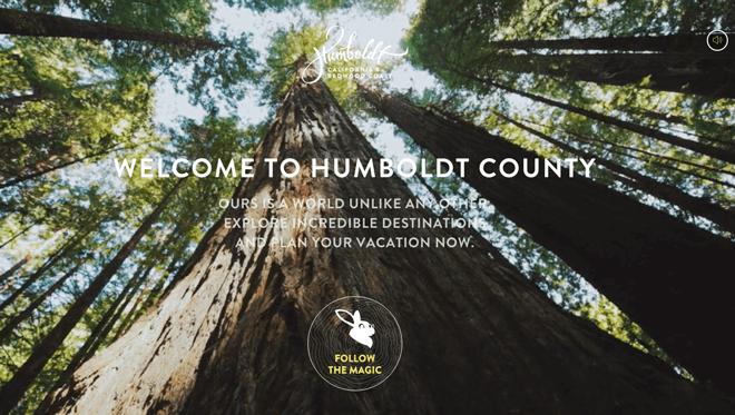 CTA auf der Homepage von Humboldt County, Kalifornien