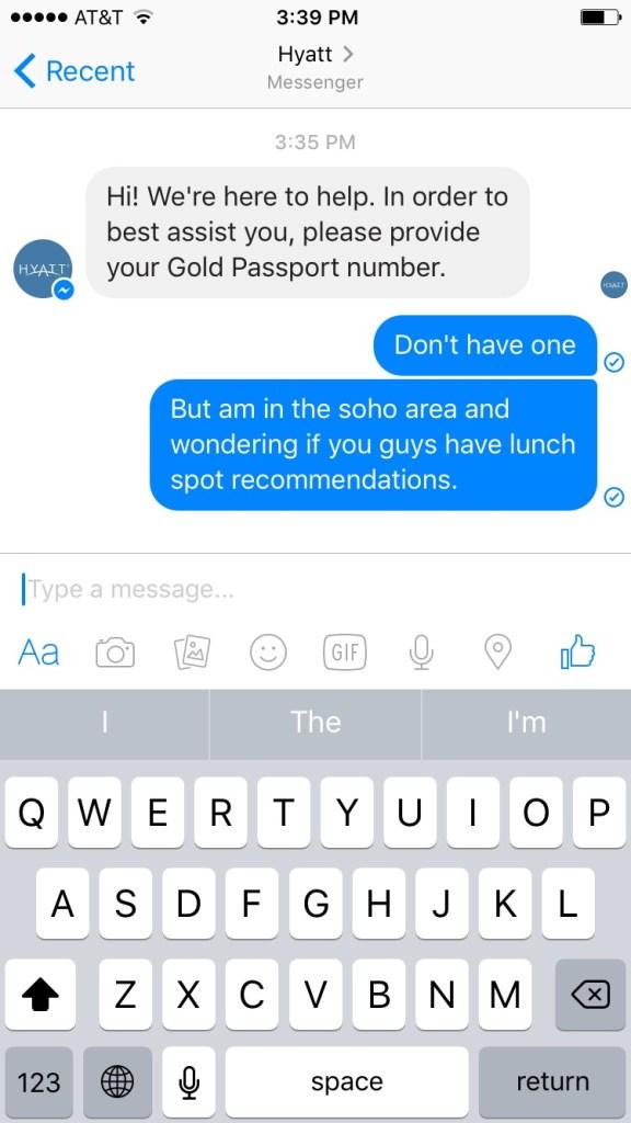 HubSpot – Social Media Trends in 2017 – Hyatt Kundenservice im Messenger