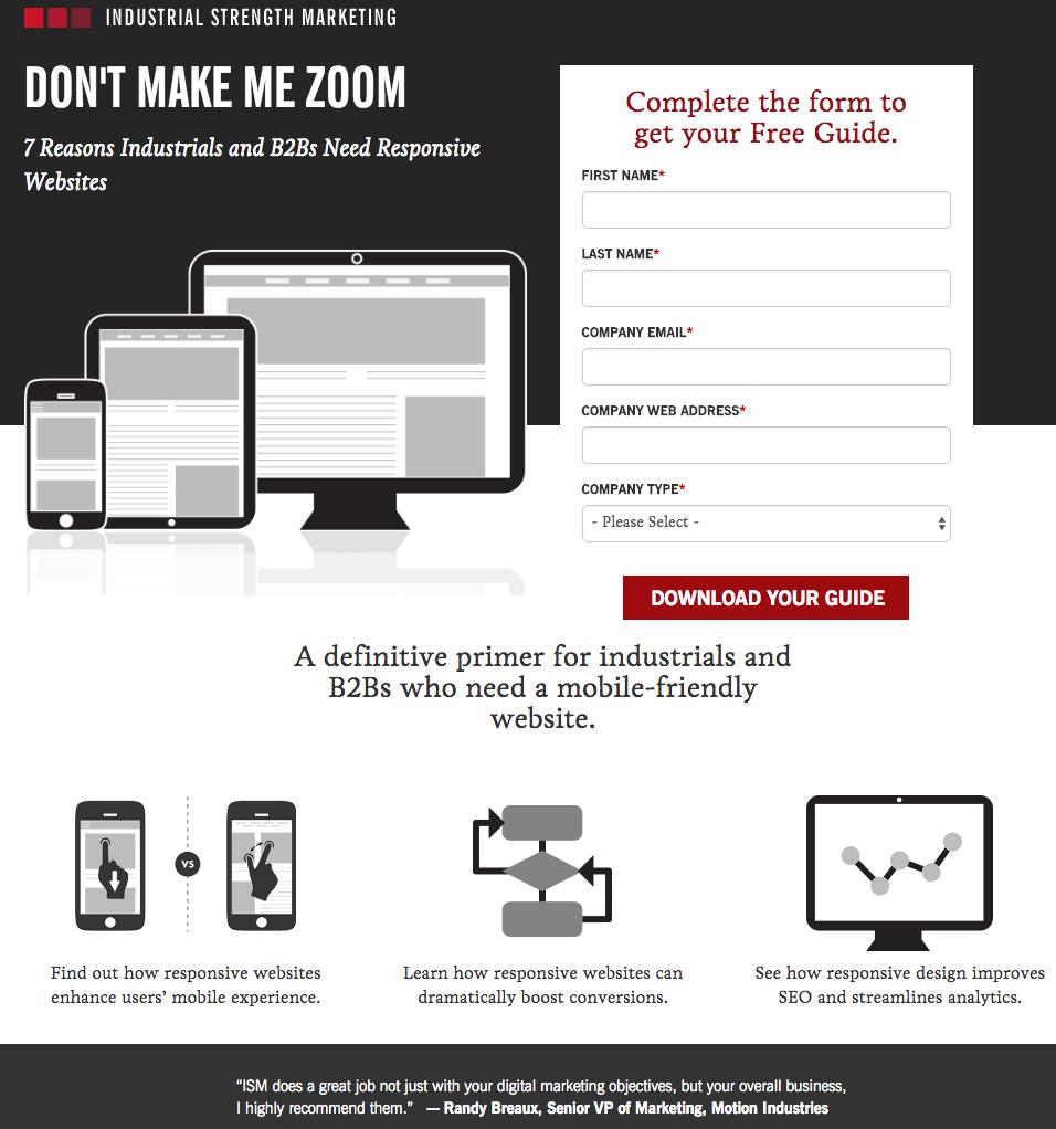 Beispiele für ansprechendes Landing-Page-Design – Industrial Strength Marketing 01