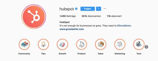 instagram-highlights-beispiel mit icons