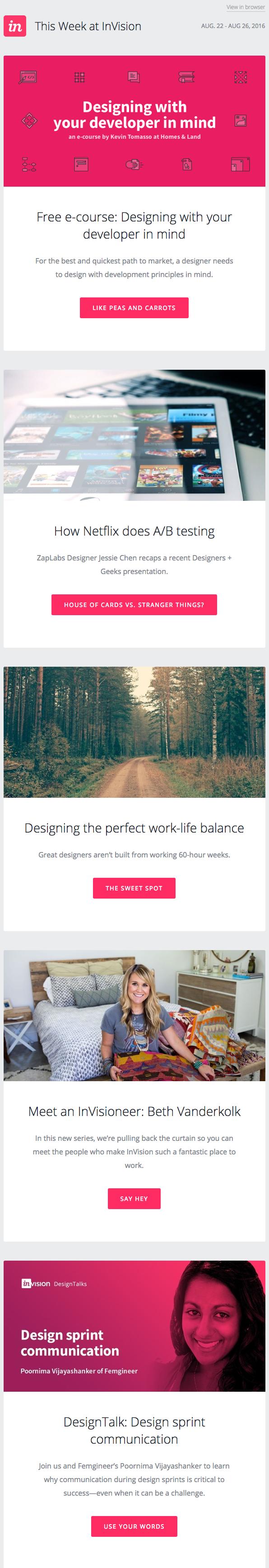 Beispiele herausragender E-Mail-Marketing-Kampagnen – InVision