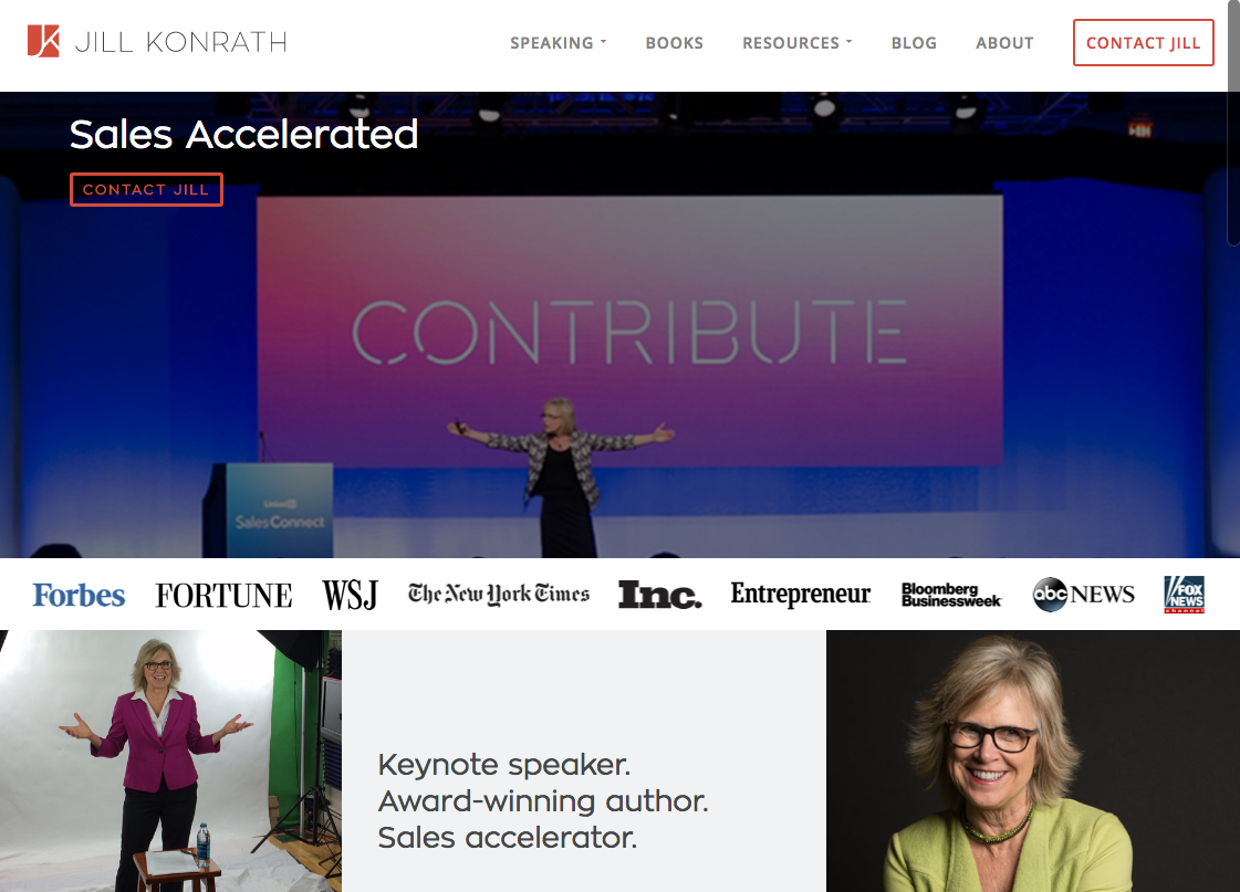 Beispiele von gutem Homepage-Design - Jill Konrath
