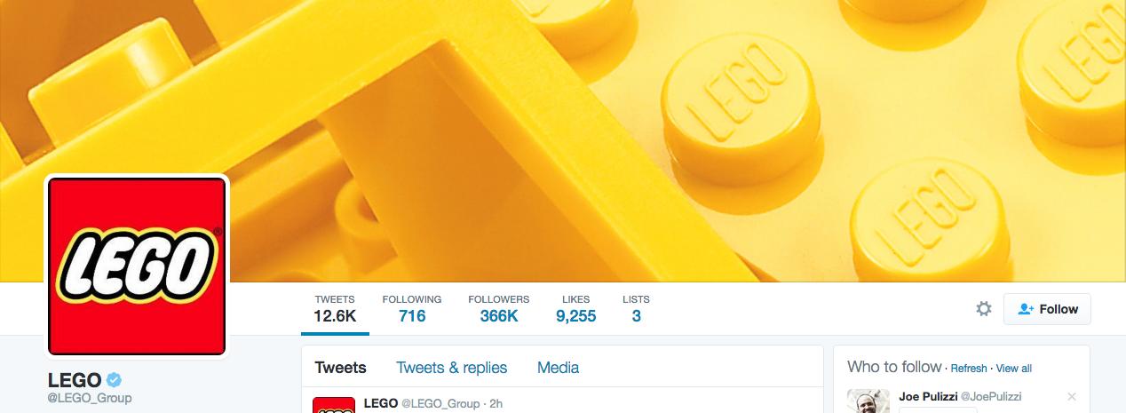 Beispiel eines gelungenen Twitter-Titelbilds - LEGO