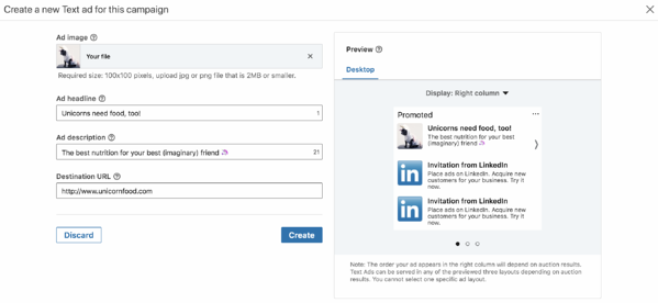 Beispiel einer Anzeigenvorschau auf LinkedIn