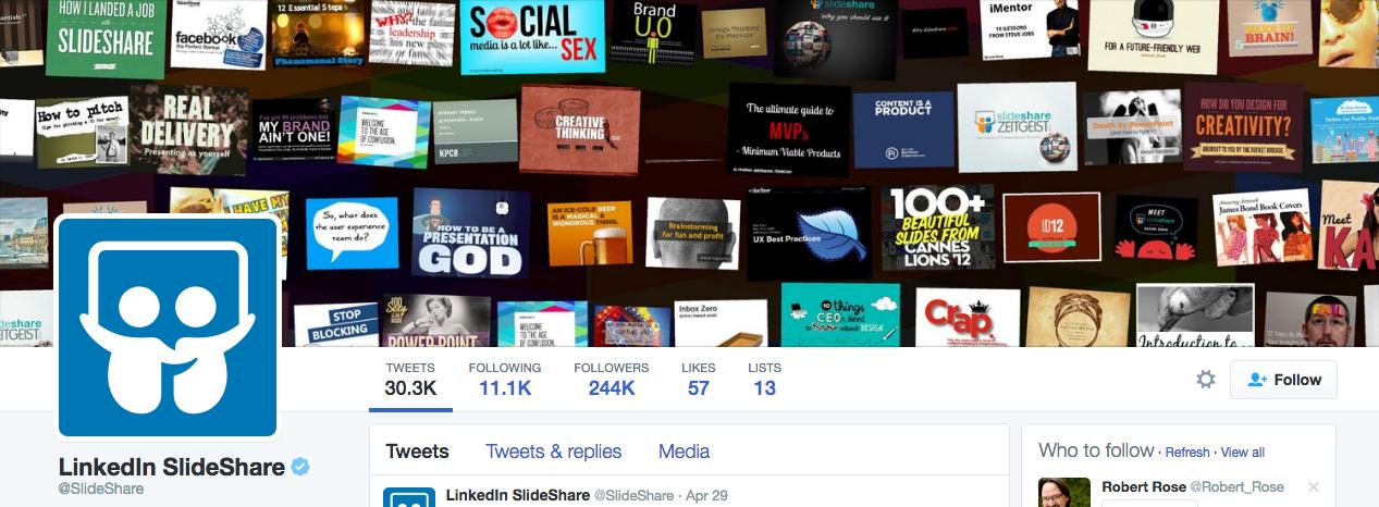 Beispiel eines gelungenen Twitter-Titelbilds - LinkedIn SlideShare