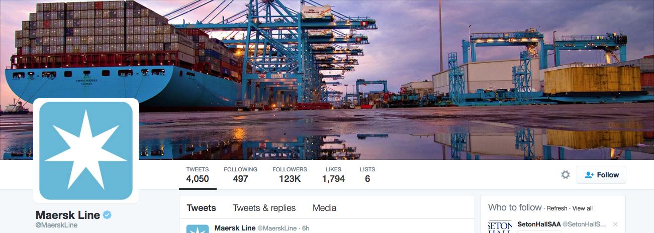 Beispiel eines gelungenen Twitter-Titelbilds - Maersk Line