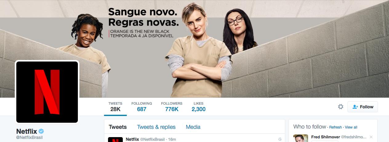 Beispiel eines gelungenen Twitter-Titelbilds - Netflix Brasilien