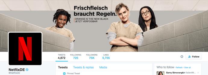 Beispiel eines gelungenen Twitter-Titelbilds - Netflix Deutschland