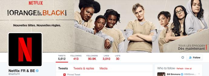 Beispiel eines gelungenen Twitter-Titelbilds - Netflix Frankreich