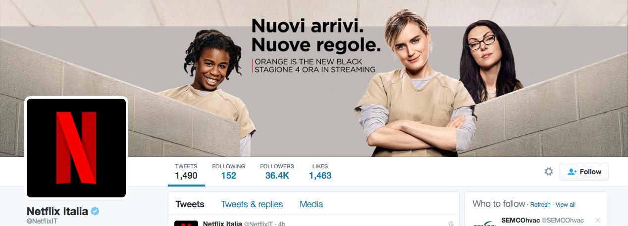 Beispiel eines gelungenen Twitter-Titelbilds - Netflix Italien