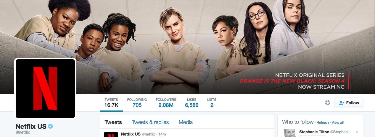Beispiel eines gelungenen Twitter-Titelbilds - Netflix